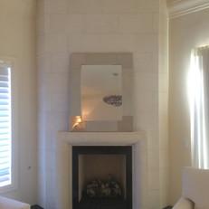 Modern Stone Fireplace Mantel & Surround