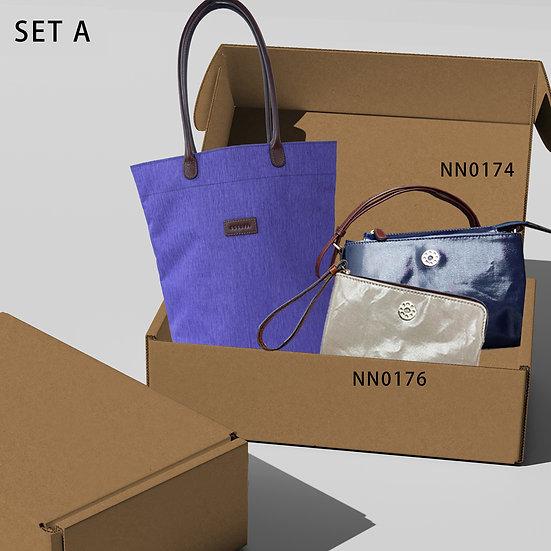 豪華禮盒A-可摺袋藍色[CB]+小斜肩袋+ 手抓包