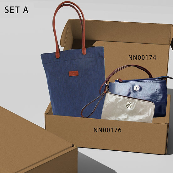 豪華禮盒A-可摺袋深藍色[BU]+小斜肩袋+ 手抓包