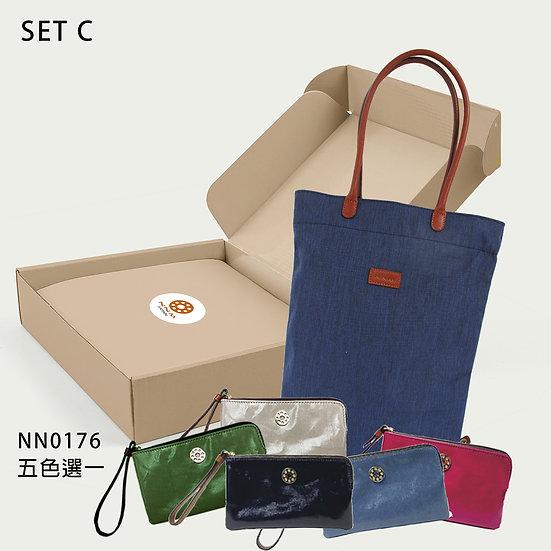 摺摺疊疊禮盒C- 可摺疊袋深藍色[BU]+手抓包