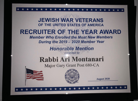 JWV Recognizes Rabbi Montanari