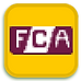 a cartoon depiction of the FCA logo against a gold background