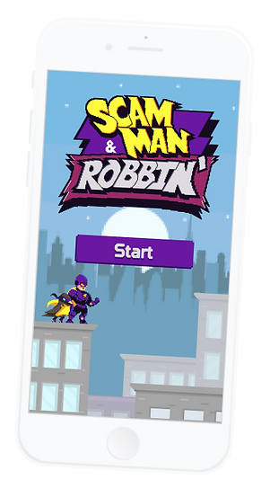 scam man start screen on a white iphone