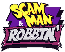 scam man and robbin' logo