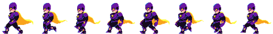 a series of scam man's walking left, scam man is wearing a purple jumpsuit and armour, yellow goggles and a yellow cape