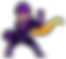 scam man in victory pose, scam man is wearing a purple jumpsuit and armour, yellow goggles and a yellow cape