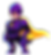scam man looking left, scam man is wearing a purple jumpsuit and armour, yellow goggles and a yellow cape