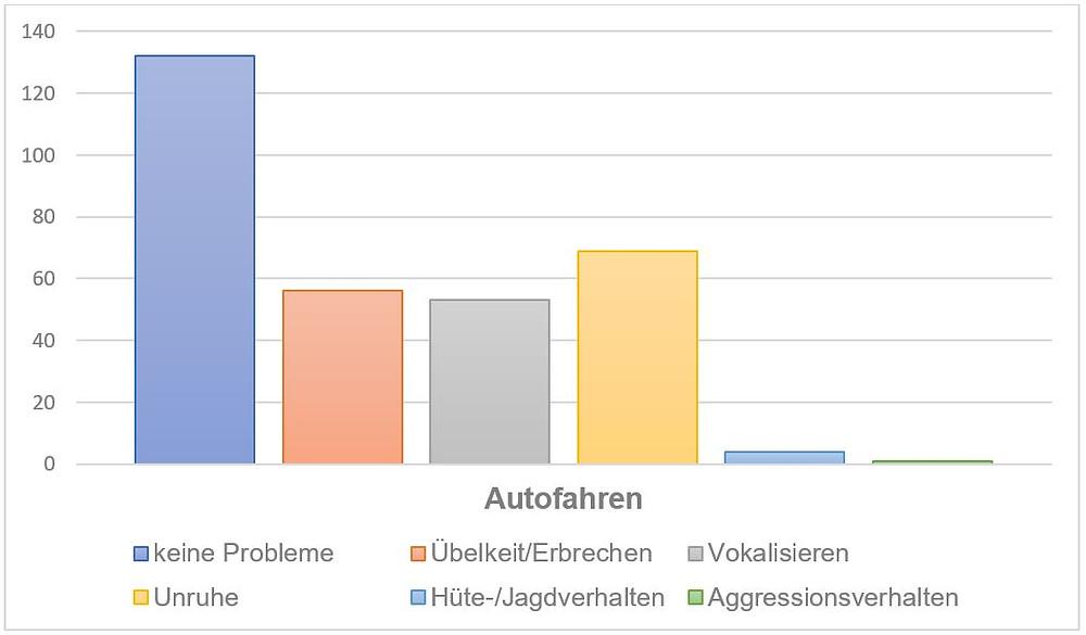 Julie & Bonnies Statistik zu Problemen von Hunden beim Autofahren