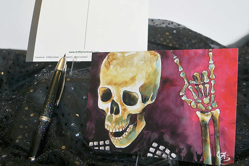 Metal Music Skull - Postcard