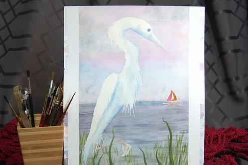 """Egret - Watercolor """"sketch"""" No1"""