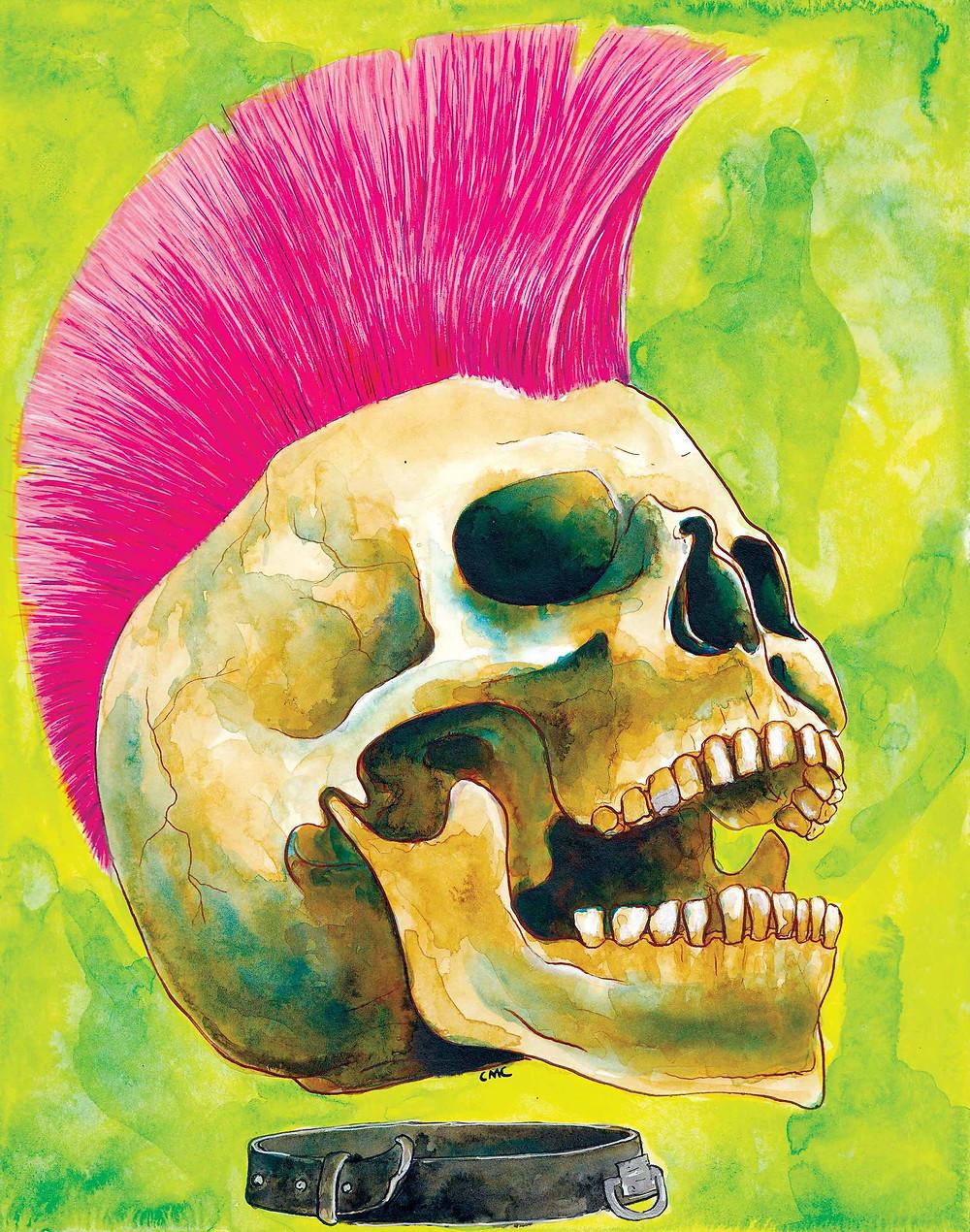 PunkRockSkull_inkwashpainting_pinkmohawk