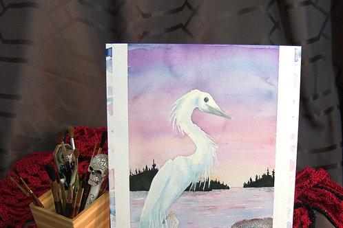 """Egret - Watercolor """"sketch"""" No2"""