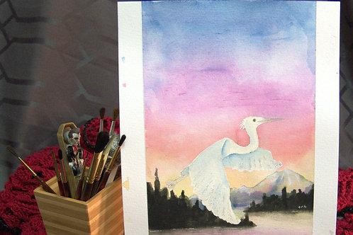 """Egret - Watercolor """"sketch"""" No3"""
