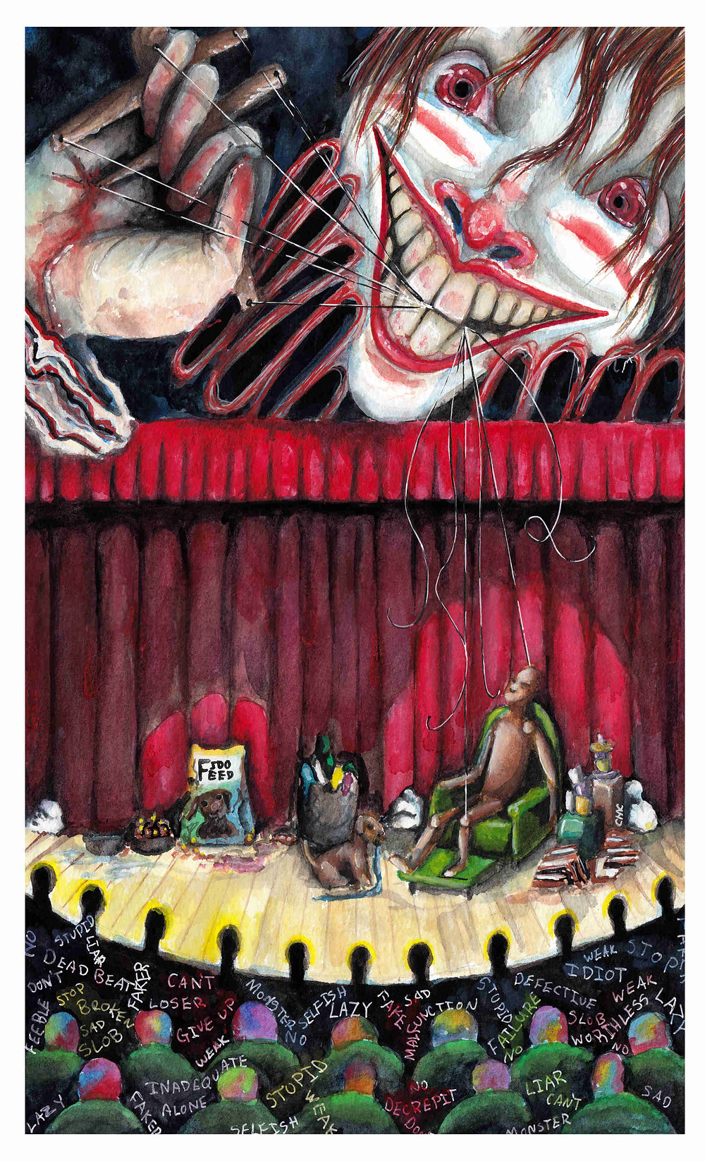 MadPuppeteer_Clown_LifeIsAStage_Gouach_marronette