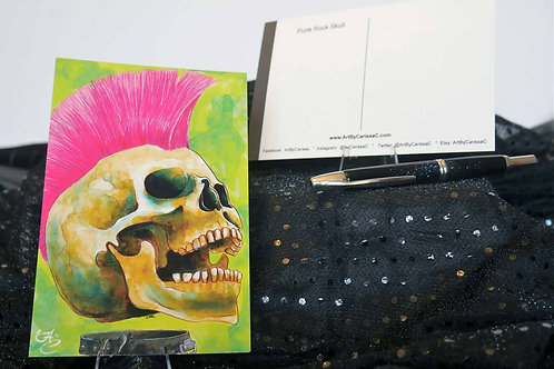 Punk Music Skull - Postcard