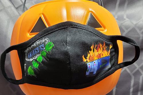 Kids! Dumpster Fire, Blue -  2 Layer Mask