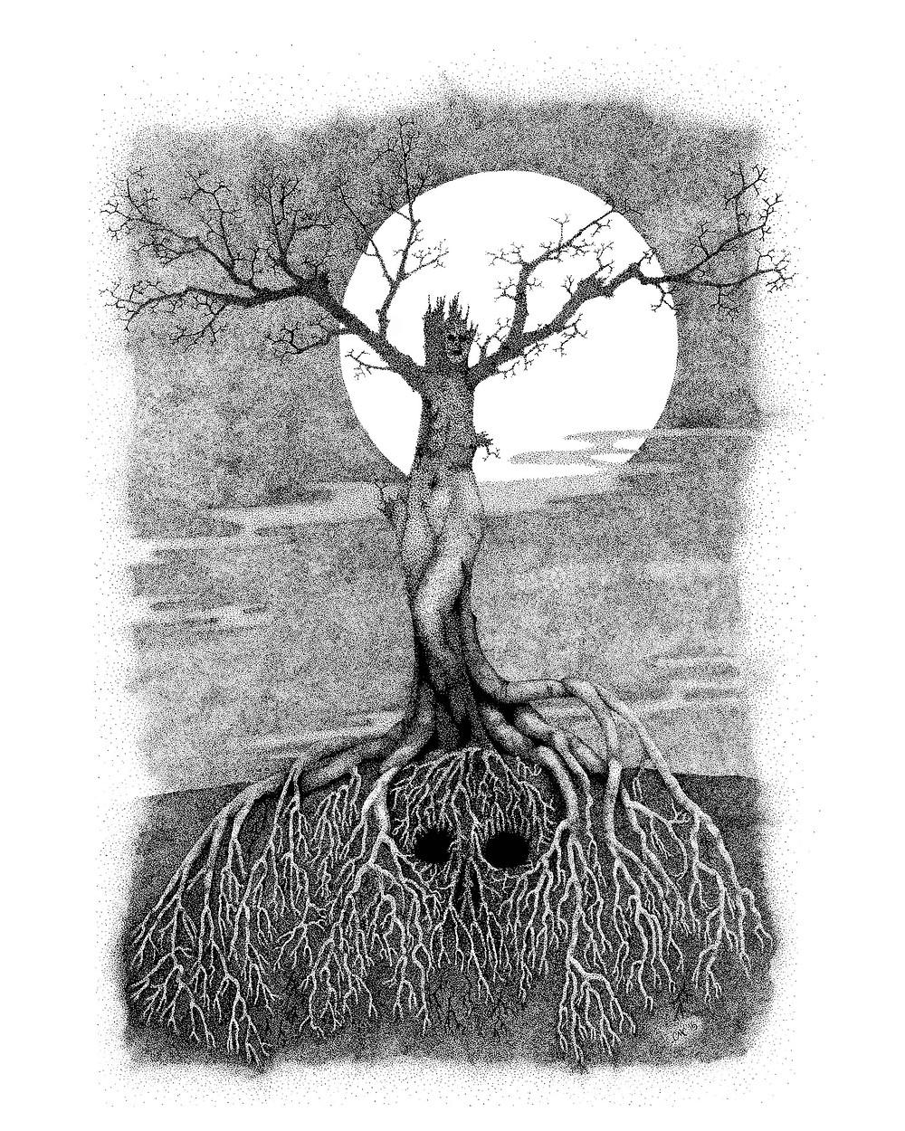 Haunted_Dryad_stipple_art