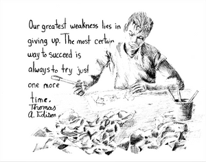 Pen and Ink Drawing of a male artist working on a drawing amid piles of crumpled paper.