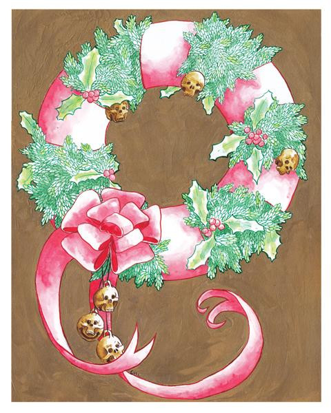 ChristmasWreath_w_SkullBells_Holly_RedRibbon