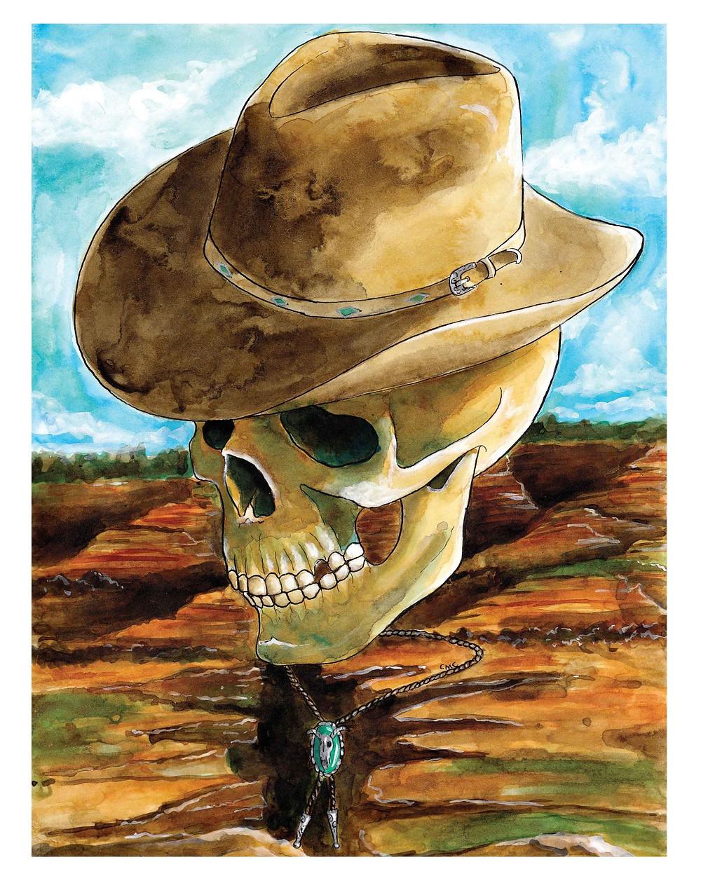 CountryMusicThemedSkull_CowboyHat_BolaTie_Mesa_Inkwashpainting
