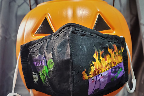 Dumpster Fire, Purple - 3 Layer Mask With Metal Nose Bridge