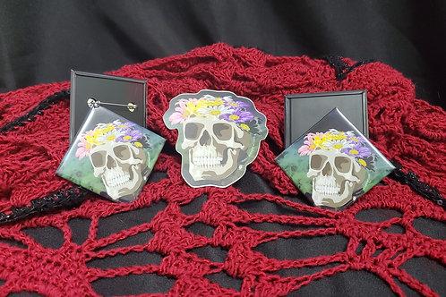Non-Binary Flower Crown Skull