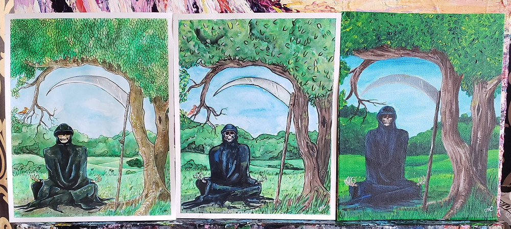 MeditatingDeath_ThreeVersions_InkWash_Gouache_Acrylic
