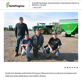 Gerald, Kurt, Brendon and Fred Van Osch grow 3,000 acres of corn, 2,100 acres of soybeans and 2,000 acres of dry edible beans near Crediton, Ontario.