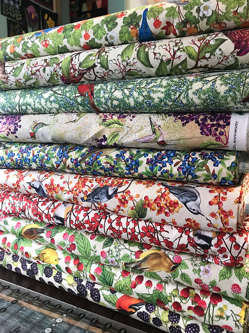 """Fabric by the yard - """"Birds and Berries Maine"""" by Robert Kaufman"""
