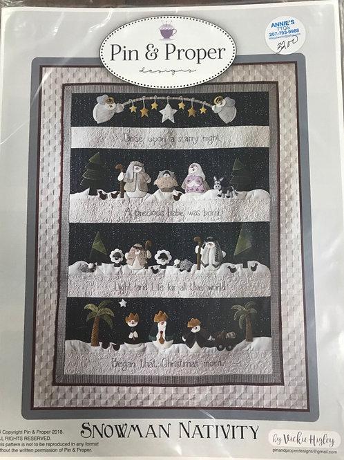 Pin & Proper - Snowman Nativity Pattern