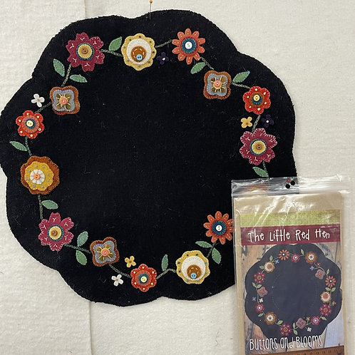 """""""Buttons on Blooms"""" Wool Applique"""