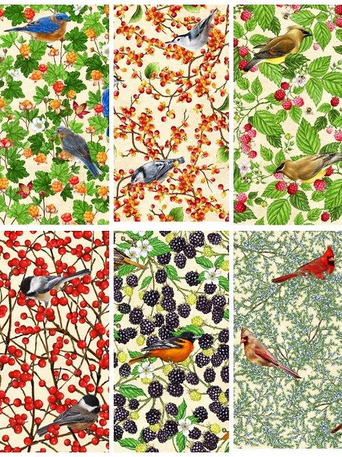 "Fat Quarters - ""Birds and Berries Maine"" by Robert Kaufman"