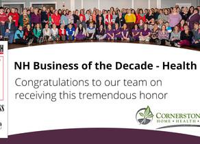 Cornerstone VNA Named 2020 Health Care Business of the Decade!