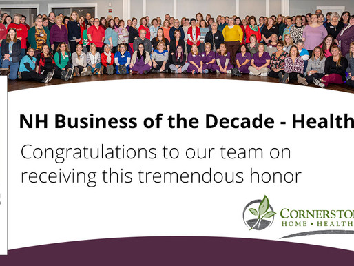 Cornerstone VNA Named 2020 Health Care Business of the Decade!