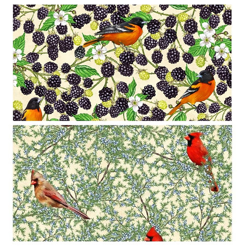 "1/2 Yard Bundles - ""Birds and Berries Maine"" by Robert Kaufman"