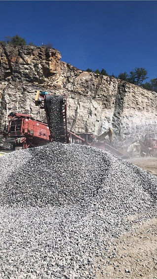 Crushed stone at a gravel pit