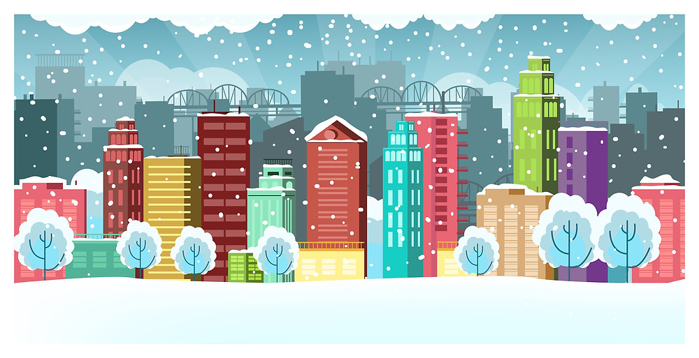 Snow in a city