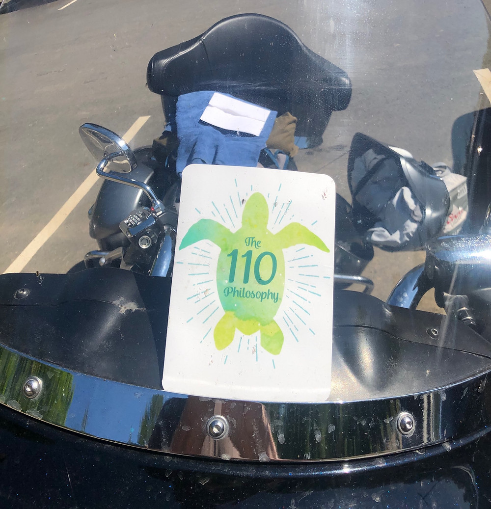 Motorcycle with turtle on windshield