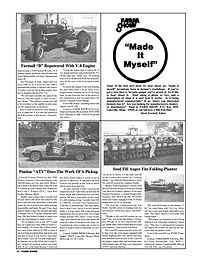1996 - Volume #20, Issue #6 tells about Market Farm Equipment's custom-built the seed fill for Fred and Gerald Van Osch of Crediton, Ontario. It fits their Friesen-Friesen Inc. front-fold frame equipped with 24 Deere planter units on 22-in. spacings
