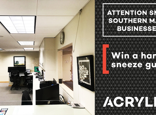 Want to win a FREE acrylic sneeze guard for your business?