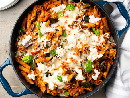 Cheesy Beef & Lentil Pasta Bake with Roasted Veggies