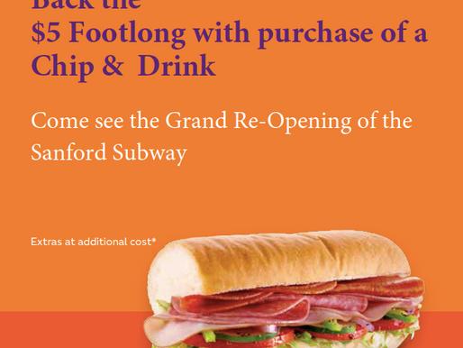 $5 Footlongs at Sanford Subway November 23-27