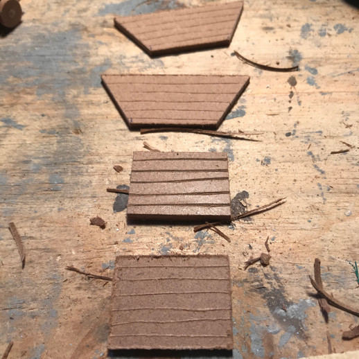"""Minecart pieces cut out of 1/8"""" MDF"""