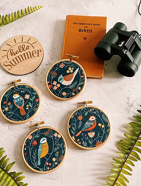 Bold Birds Mini Embroidery Hoops