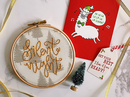 Silent Night Embroidery Hoop