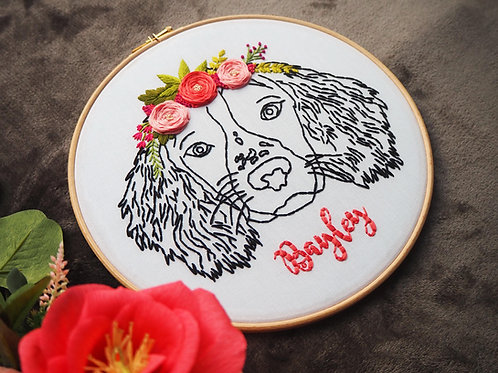 Floral Dog Portrait Embroidery Hoop