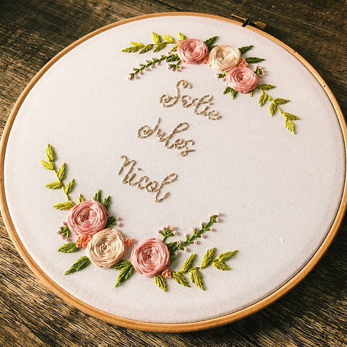 Floral Cluster Name Embroidery Hoop