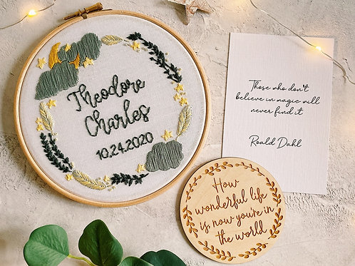 Baby Stars & Moon Embroidery Hoop
