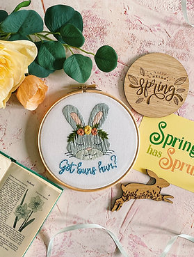 Got Buns Hun? Floral Bunny Embroidery Hoop
