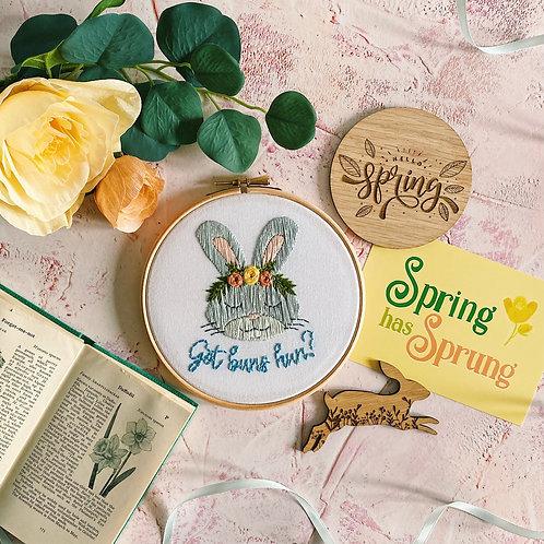 Got Buns Hun? Floral Bunny Embroidery Hoop